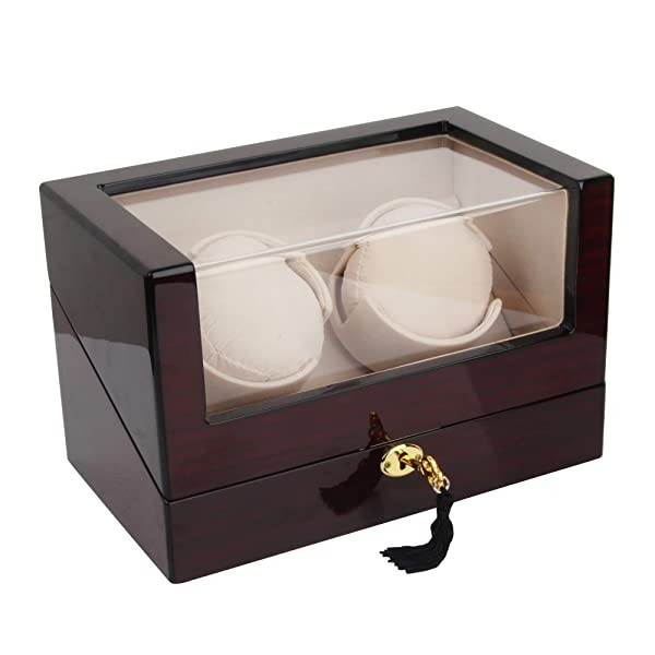 Kendal Automatic Wooden Double Watch Winder with 4