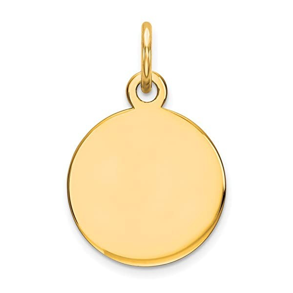 14k Yellow Gold Round Disc Pendant Charm Necklace