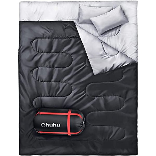 Ohuhu Double Sleeping Bag with 2 Pillows Waterproo