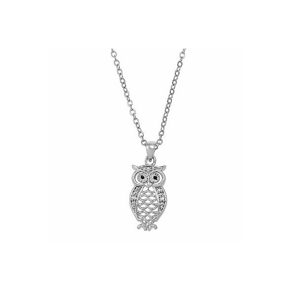 [미국] 1416006 Owl Pendant with Diamonds in Brass 18