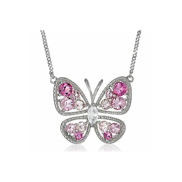 [미국] 1416013 Butterfly Necklace with Pink & White